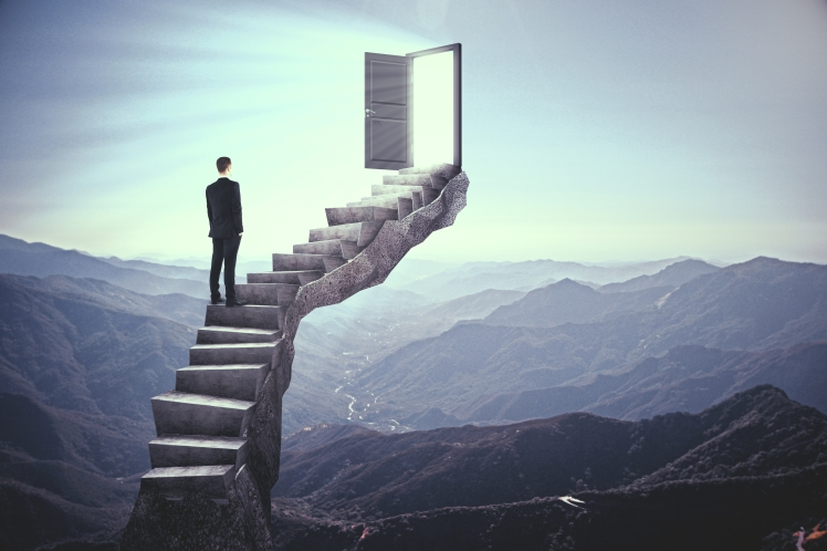 business man on staircase dream